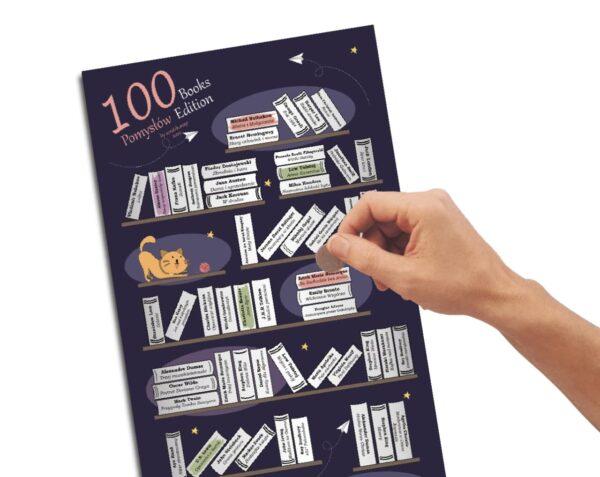 Plakat Zdrapka 100 książek do przeczytania